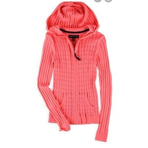 Aeropostale Hooded Zip Up Cable Knit Sweater